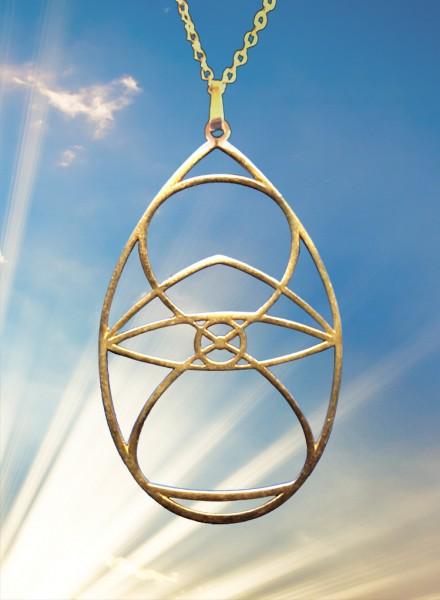 LEBENSFORMEL Amulett 5cm hoch, in gold